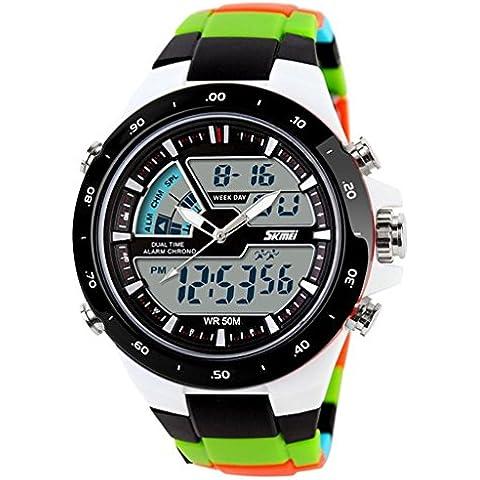 pkaty Orologio Sportivo LED analogico-digitale luce allarme cronografo uomo/donna da polso watches-green