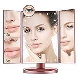 Aiskki Kosmetikspiegel beleuchtet,LED Spiegel mit 3 Fach Vergrößerung und Faltbar Schminkspiegel mit Beleuchtung Make-up Spiegel 180°Drehbarer Vergrößerungsspiegel (Roségold)