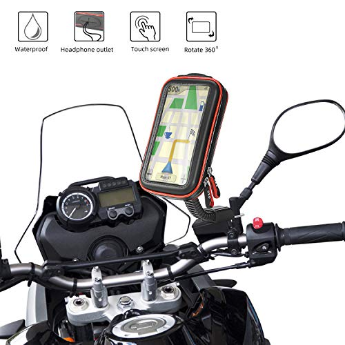 """Rupse Motorrad Handyhalterung, Wasserdicht Motorrad Halterung 360°drehbar mit Touch-Screen GPS Handytasche Kopfhöreranschluss, Motorrad Tasche Halterung des Rückspiegel für Smartphone 4.7""""-5.4"""""""