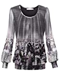 BaiShengGT Damen Langarmshirt Rundhals Falten Shirt Stretch Tunika Grau-Print L