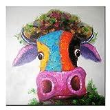 Fokenzary, Wandbild im Pop-Art-Stil mit Kuh-/Bullen-Motiv, modern, mehrfarbig, handgemalt und fertig eingerahmt, canvas, mehrfarbig, 16x16in