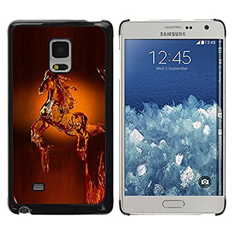 DEMAND-GO Smartphone Noir Bord Protection Rigide Fine Coque Housse Unique Image Pour Samsung Galaxy Mega 5.8 9150 9152 - cheval art de cire animaux statue couronne