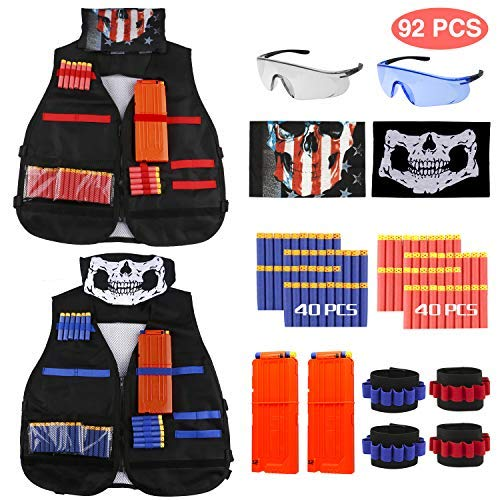 Gilet tattico, joylink 92 pcs kit con gilet tattico per bambini 2 pezzi red & blue tactical vest thick section per le pistole nerf serie n-strike elite