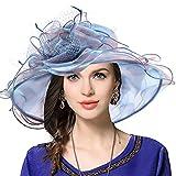 Damen Kirche Derby Kleid Fascinator Braut Mütze Britischer Tee Party Hochzeit Sonnenhüte (Pfauenblau)