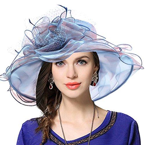 Damen Kirche Derby Kleid Fascinator Braut Mütze Britischer Tee Party Hochzeit Sonnenhüte (Pfauenblau) -