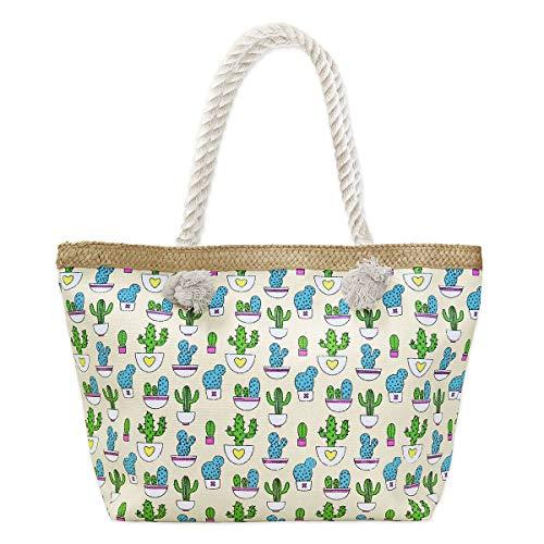 067aa56abe5f4 SoulCats® Shopper Freizeittasche Strandtasche im Kaktus Design beige bunt