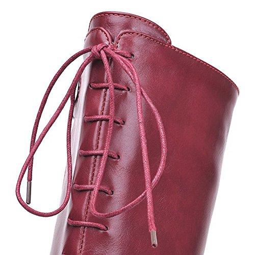 AllhqFashion Damen Rein Hoher Absatz Quadratisch Zehe Reißverschluss Stiefel mit Metallisch Weinrot