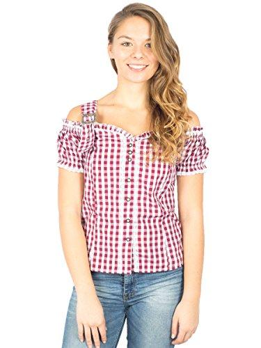 Tolle Damen Trachten Bluse mit Träger in 7 Farben Gr. XS-XXL Deutscher Hersteller (L, weinrot)