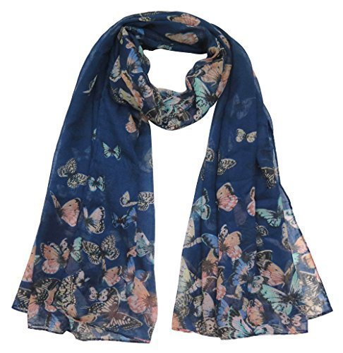 - 51DtjCAvA L - Lina & Lily Butterfly Print Women's Scarf Large Size (Blue)