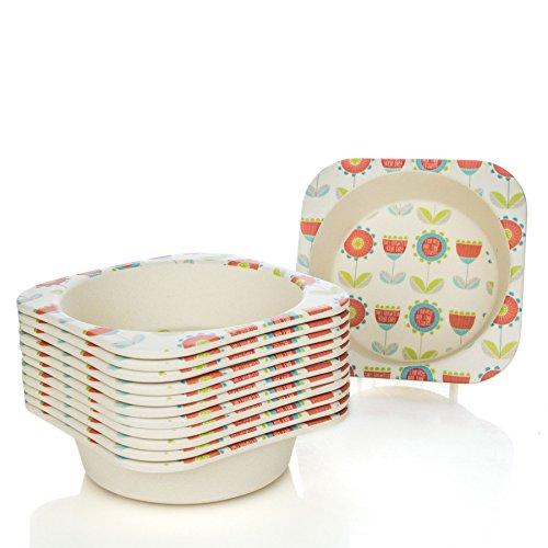 Tiny Dining Petits Repas à Manger en Fibre de Bambou pour Enfants Bowl - Fleur - Paquet de 12