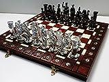 SPARTAN plata - juego de ajedrez grande 40cm/15,7 en cromo artística
