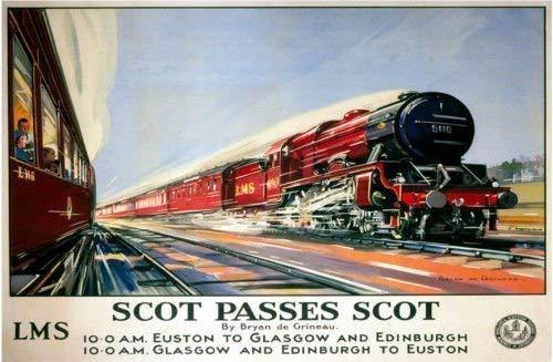 RKO Scot Pässe scot. Flying Scotsman Train rot London to Edinburgh euston. London. alt Retro Klassisches Anzeige in Design Britisch- Rail. LMS. Locomotion. Dampf Schiene Train Metall/Stahl Wandschild