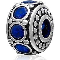 925 Argento Blu Cz Bead europea Spacer Charms- unico Natale Idea Presente per una mamma, papà, Marito, Moglie, ragazzo, amica