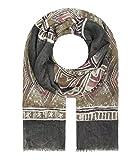 Majea Schal Damen Tuch Kopftuch Halstuch Schals und Tücher mit Muster Stola (olive 7)