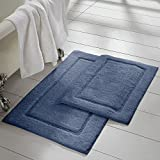 Amrapur Overseas 2-Pack Solid Loop with Non-Slip Backing Bath Mat Set (17-inch by 24-inch/21-inch by 34-inch), Denim