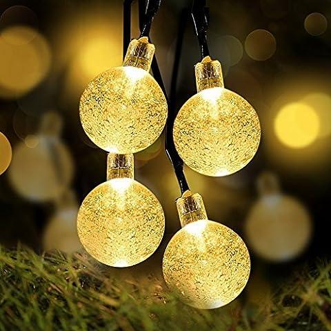 Catene luminose solare 30LED, sfere di cristallo luci stringa per casa, giardino, matrimoni, feste (Bianco caldo) - Sfera Giardino Bandiera