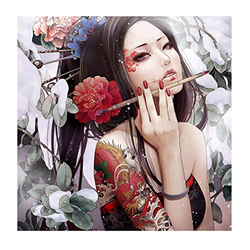 MXJSUA DIY 5D Diamond Painting Round Drill Kits Rhinestone Picture Art Craft for Home Wall Decor 12X12In Chinese Flower Girl - Giant Paper Flowers Kit