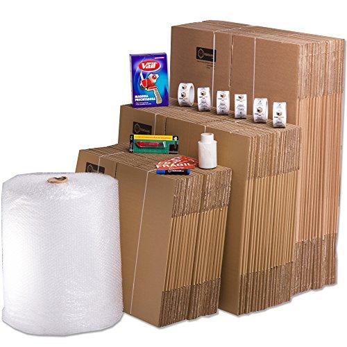 TELECAJAS Pack Mudanza (Cajas de cartón, plástico Burbujas, precinto, etc) con el Embalaje Necesario para una mudanza de casa (Pack MUDANZA Familiar)