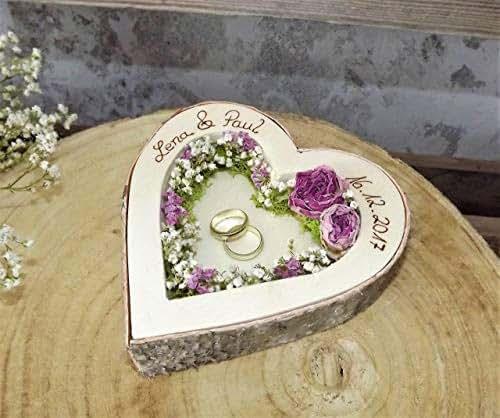 Hochzeit Ringkissen Ringhalter Herz Mille Fleurs Holzherz