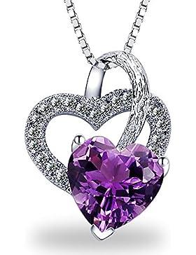 Halskette Herz Damen Anhänger 925 Sterling Silber 5A Zirkonia Liebe Schmuck 45CM Kettenlänge Geschenk by bravetzx