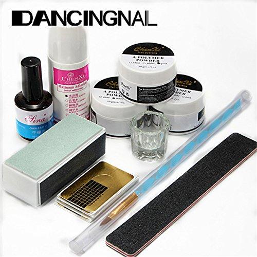 DancingNail Kunstnägel Set Acryl Pulver, Primer, Feile, Buffer, Schablonen, Pinsel