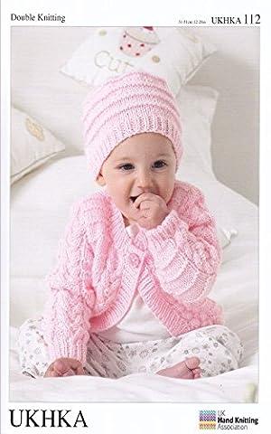 Double Knitting DK Pattern for Long Short Sleeved Baby Cardigans Hat & Blanket (UKHKA 112)