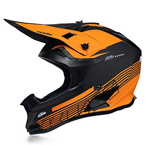 MRDEAR Casco Integrale MTB Uomo - Nero Arancio - Casco da Motocross con Fodera Rimovibile, Casco Cross Adulto Professionale Casco Enduro per Motociclista Downhill Moto Offroad Scooter Sport,M