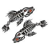 Gazechimp 2 Pièces/Set Squelette Arête de Poisson Autocollant Décalcomanies Pour Bateau Canoe Kayak