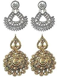Bohian Design Oxidised Earrings With Gold Stone Studded Dangler Combo 22