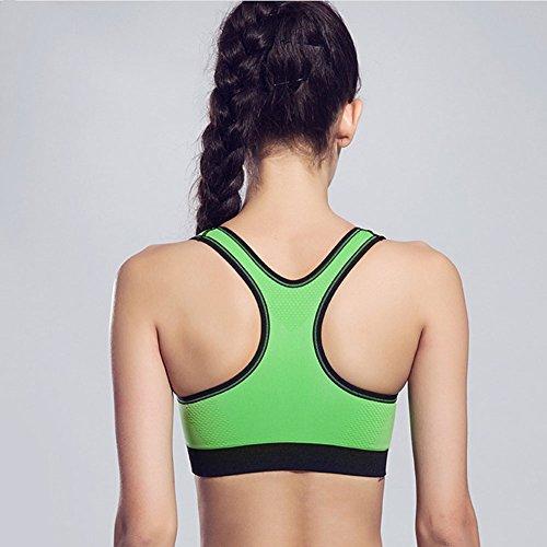 Molie Femme Soutien Gorge de Sport Zip Fermet Vert