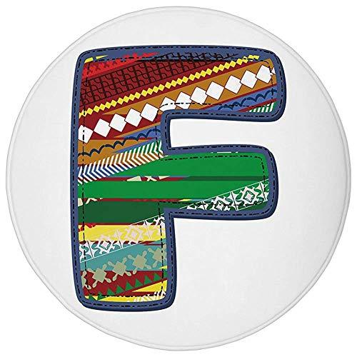 Round Rug Mat Carpet,Letter F,Alphabet Element the Letter F Cartoon Drawing Style Vintage Retro Geometric Design Decorative,Multicolor,Flannel Microfiber Non-slip Soft Absorbent,for Kitchen Floor Bath (Alphabet Jungle-teppich)