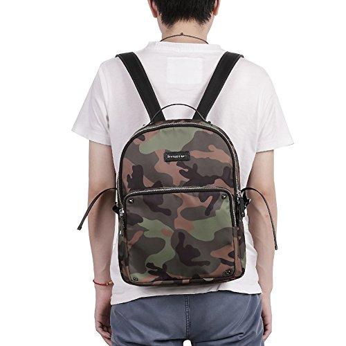 Teemzone Uomo Zaino in nylon Daypack Camouflage Casual Zainetto 14 Laptopbag borsetta Donne Sac (Verde) Verde