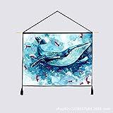 mmzki Nordic Tier Cartoon Fisch hängen leinwand Baumwolle und leinen Tapisserie Wohnzimmer büro Dekoration gemälde Q 65 * 45 cm