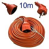 Dobo® - Cable alargador de corriente eléctrica para jardín y exteriores. Enchufe Schuko color naranja con cómoda funda con asa. Longitud: 5 – 10 – 15 – 20 – 25 – 30 metros, naranja