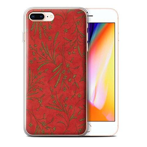 Stuff4 Gel TPU Hülle / Case für Apple iPhone 8 Plus / Rosa/Orange Muster / Weizen Blümchenmuster Kollektion Rot/Grün