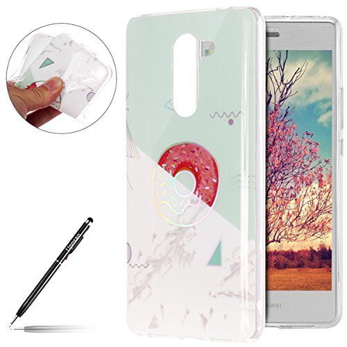 Kompatibel mit Handyhülle Marmor Huawei Mate 9 Lite Schutzhülle Weich Silikon Hülle Glitzer Marmor Muster Silikon Transparent Tasche Handytasche Durchsichtige Dünne HandyHülle TPU Bumper,Weiß Grün