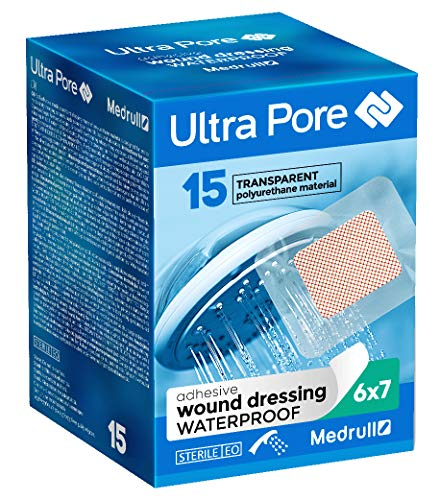 Medrull 75 Stück Wasserdicht Wundverband Transparent 7x6 cm ULTRA PORE Steril (15x5 Stk) -