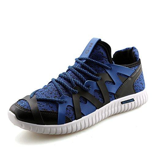 Sport chaussures mode homme casual chaussures un respirant tissé mouche Blue
