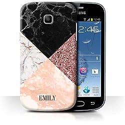 eSwish Personnalisé Paillettes Géométriques Marbre Coutume Coque pour Samsung Galaxy Trend Lite/S7390 / Bling Mode Moderne Design/Initiales/Nom/Texte Etui/Housse/Case