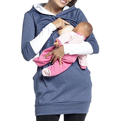 Aiffer Femme Sweat à Capuche d'allaitement Double Couches ,Automne Hiver Maternité 2in1 Grossesse Couture à Manches Longues Pull. Bleu