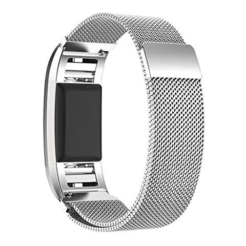 IHee Bracelet de montre en maille Milanaise en acier inoxydable + Film HD pour Fitbit Charge 2 M Silver - Fossil Charm Bracelet Watch