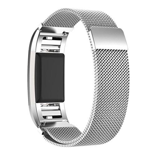 ihee milanese in acciaio inox regolabile Morbidezza con cinturino da polso bracciale + HD pellicola per Fitbit Charge 2, Silver, M