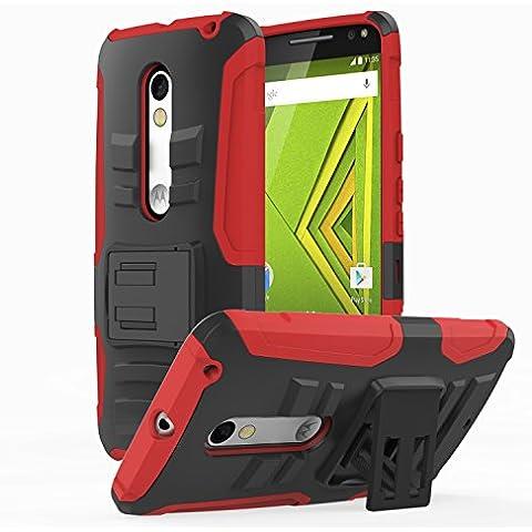 Motorola Moto X Play Phone Funda - MoKo Full Body Rugged Holster Funda con Swivel Belt Clip para Moto X Play Smartphone 2015 Edition - Lifetime Warranty - Rojo (Not for Moto X Previous
