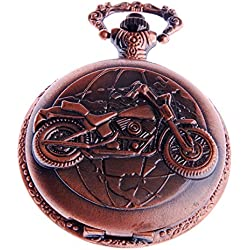 Motorcycle Pocket Watch Quartz Movement Motorcycle Motif With Chain White Dial Arabic Numerals Full Hunter Modern Design PW-50