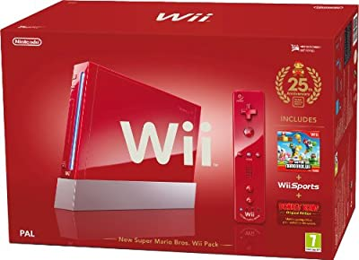Nintendo Wii Console (Red) with Wii Sports plus New Super Mario Bros and Motion Plus Controller (Wii) from Nintendo