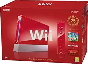 Nintendo Wii Console (Red) with Wii Sports plus New Super