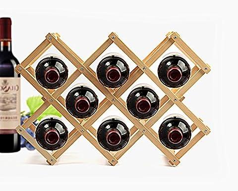 Bliss UK–pliable en bois de vin de table Organiseur support de présentation de dîner de fête cadeau de Noël 8-Bottle naturel