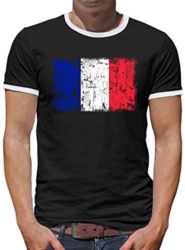 Frankreich Vintage Flagge Fahne Kontrast T-Shirt Herren XL Schwarz