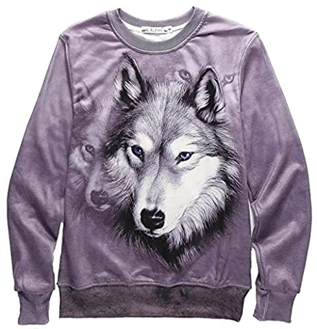 Pizoff Unisex Hipster Long Sleeve Crew Neck Wolf 3D Digital Graphic Print Sweatshirt with Fleece Lining