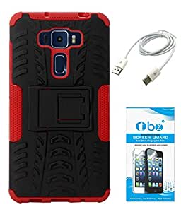 TBZ Hard Grip Rubberized Kickstand Back Cover Case for Asus Zenfone 3 ZE552KL (5.5in) with Data Cable and Tempered Screen Guard -Red